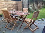 Table and six chairs for sitting out in the garden