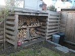 Log store in garden
