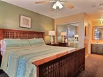 Master bedroom with King size Bed and private Bath, door to Balcony