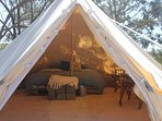 Inside our glamping tents