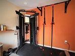 home gym: weight machine, chin-up bar