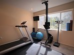 home gym: treadmill, rowing machine