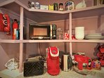 breakfast nook offers small appliances and land line