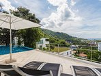 Pool terrace with stunning view over Kata bay and ocean
