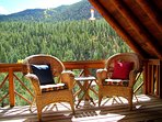 Just walk out the door of the master bedroom and onto the upper deck that overlooks Taos Canyon!