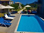 The swimming pool area is equiped with sunbeds for all the tenants of the house and two Lounge Beds