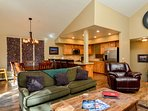 Bright open concept with living, dining and kitchen areas all in view.