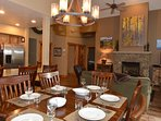 Open concept with high ceilings make this dining space roomy and comfortable