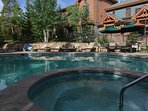 Onsite heated pool open all year!  Lounge chairs, grills and towels provided.