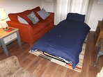 Single style optional  folding bed open. Approx mattress size 186x74cm