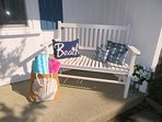 Or enjoy the bench on the front porch-767 Route 28 #9 Harwich Port Cape Cod New England Vacation Rentals