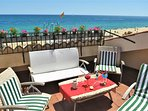 Beach front terrace with sea view