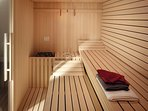 Sauna in rec room to ease sore muscles and helps you to relax and recharge for the next day!
