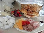 Included is a breakfast basket during your stay. The above is for four guests.