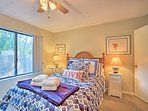Drift off to ocean dreams in this serene room with a queen bed.
