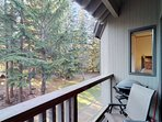 Private balcony with an electric BBQ and peaceful Fitzsimmons creek sounds