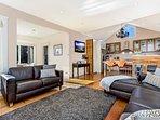 Beautiful spacious rooms. Looking to kitchen featuring Tasmanian black- heart sassafras cupboards.