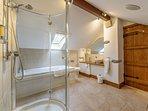 Large ensuite bathroom to master bedroom on first floor. Bath & shower enclosure. Underfloor heating