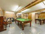 3/4 size snooker table, ping pong, darts, board games and even a piano!