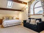 Huge first floor master bedroom with super king bed (2 singles on request) plus a single bed