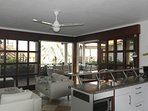 Living + open plan kitchen