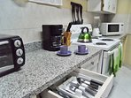 Fully Equipped Kitchen. Complimentary Coffee, Tea and Sugar.