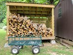 Unlimited firewood provided and a cart to carry it to fire pit