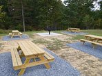 Park-style grill with picnic tables for 50 people