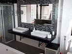 Bathroom, shower and bath jacuzzi.