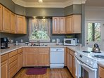Fully equipped kitchen, includes dishwasher and coffee maker.