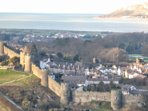 Conwy Town and Walls, Conwy River Estuary to Irish Sea at Llandudno Great Orm.