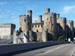Conwy Castle, Telfords 1826 Suspension Bridge, Stephensons 1848 Tubular Railway Bridge