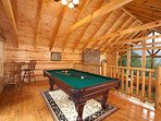 Lofted Game Room at Log Wild!