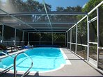 Heated screened pool for year around swimming