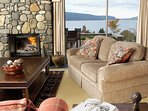 Lodge lounge with river stone fire place