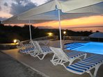 Pool area at sunset.