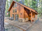 The front porch has several places to relax while taking in the fresh Tahoe air