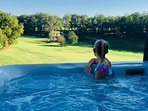Lovely views from the large hot tub which is available to  guests if the Barn is also rented.