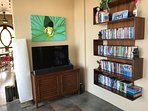 TV room with whole house stereo, AppleTV, Netflix and tons of DVDs!