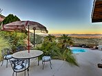 The expansive patio boasts beautiful views.