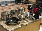 Pots and pans.  Also cooking sheets that are not shown.