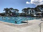 YMCA heated public pool 1.5 mile walk or bike ride through the neighborhood.