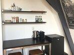 Coffeecorner with Nespresso coffeemachine.Complementary coffee &tea,Hotel minifridge so no noise