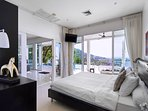 Bedroom on ground floor with access to pool terrace and the stunning view