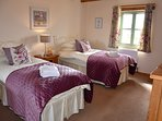 Large Twin Bedroom in Ash Cottage.