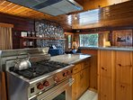 Kitchen with granite counter, stainless steel appliances