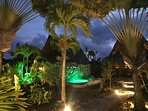 The enchanting gardens and pools of Chalet Tropical under the stars