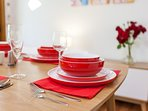 All dinnerware, crockery, cutlery, glassware and dining accessories provided for stylish dining.