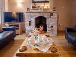 Cosy afternoon by the fire during a winter stay