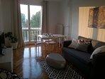 Living room in sunset